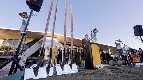 <p>               Gov. Jay Inslee speaks as engraved shovels stand at the ready before a ceremonial groundbreaking of a renovation of the arena behind at Seattle Center Wednesday, Dec. 5, 2018, in Seattle. The NHL Board of Governors gave final approval to Seattle's bid to add the hockey league's 32nd team a day earlier and play is expected to begin at the arena in 2021. (AP Photo/Elaine Thompson)             </p>