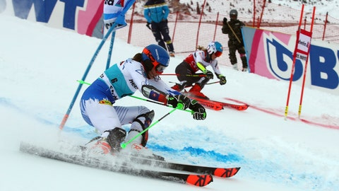 <p>               Slovakia's Petra Vlhova, foreground, and United States' Mikaela Shiffrin compete in a women's World Cup parallel slalom, in St. Moritz, Switzerland, Sunday, Dec. 9, 2018. (AP Photo/Marco Trovati)             </p>