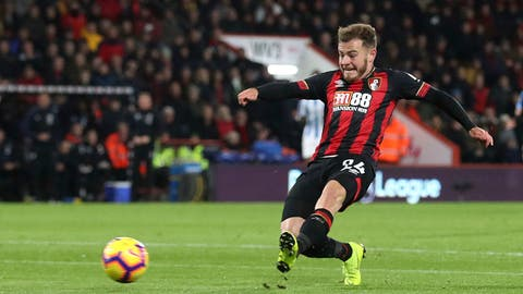 <p>               Bournemouth's Ryan Fraser scores his side's second goal of the game against Huddersfield Town, during their English Premier League soccer match at the Vitality Stadium in Bournemouth, England, Tuesday Dec. 4, 2018. (Adam Davy/PA via AP)             </p>
