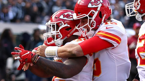 <p>               Kansas City Chiefs running back Spencer Ware, left, is congratulated by quarterback Patrick Mahomes after scoring against the Oakland Raiders during the second half of an NFL football game in Oakland, Calif., Sunday, Dec. 2, 2018. (AP Photo/Ben Margot)             </p>