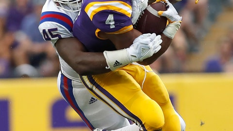 <p>               FILE - In this Sept. 22, 2018, file photo, LSU running back Nick Brossette (4) is tackled by Louisiana Tech defensive end Jaylon Ferguson (45) in the first half of an NCAA college football game, in Baton Rouge, La. Ferguson is 1.5 sacks away from tying the all-time NCAA career record held by Terrell Suggs. Louisiana Tech plays against Hawaii in the Hawaii Bowl on Saturday, Dec. 22, 2018. (AP Photo/Tyler Kaufman, File)             </p>