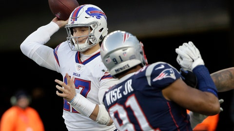 <p>               Buffalo Bills quarterback Josh Allen, left, passes under pressure from New England Patriots defensive end Deatrich Wise during the second half of an NFL football game, Sunday, Dec. 23, 2018, in Foxborough, Mass. (AP Photo/Steven Senne)             </p>