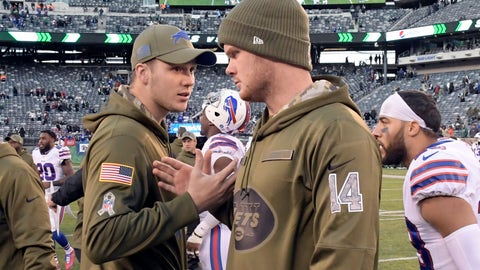 <p>               FILE - In this Sunday, Nov. 11, 2018, file photo, Buffalo Bills quarterback Josh Allen, left, and New York Jets quarterback Sam Darnold (14) talk after an NFL football game in East Rutherford, N.J. Allen and Darnold, if healthy, are set to square off in a matchup of first-round picks on Sunday, when the Bills  host the Jets. (AP Photo/Bill Kostroun, File)             </p>