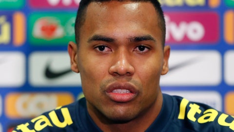 <p>               FILE -- In this Nov. 19, 2018 file photo Brazil's Alex Sandro speaks during a press conference ahead of the International friendly soccer match between Brazil and Cameroon, at MK Stadium in Milton Keynes, England. Alex Sandro has renewed his contract with Juventus until 2023, Juventus announced with a statement on its website Thursday, Dec. 20, 2018. (AP Photo/Frank Augstein)             </p>