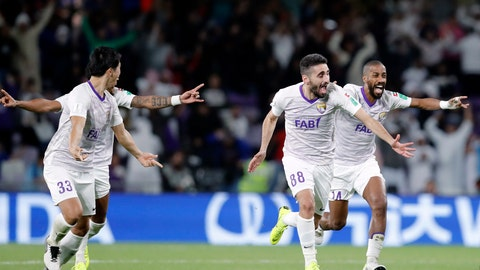 <p>               Emirates's Al Ain players celebrate after a penalty shootout at the end of the Club World Cup semifinal soccer match between Al Ain Club and River Plate at the Hazza Bin Zayed stadium in Al Ain, United Arab Emirates, Tuesday, Dec. 18, 2018. (AP Photo/Hassan Ammar)             </p>
