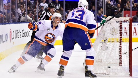 <p>               New York Islanders center Mathew Barzal (13) celebrates his goal against the Toronto Maple Leafs with teammate Anthony Beauvillier during the second period of an NHL hockey game Saturday, Dec. 29, 2018, in Toronto. (Frank Gunn/The Canadian Press via AP)             </p>