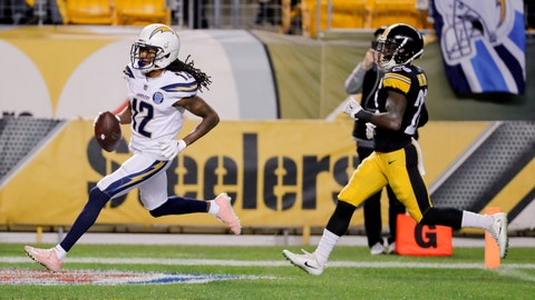 <p>               Los Angeles Chargers wide receiver Travis Benjamin (12) dashes past Pittsburgh Steelers cornerback Mike Hilton (28) on his way to a touchdown after making a catch in the first half of an NFL football game, Sunday, Dec. 2, 2018, in Pittsburgh. (AP Photo/Gene J. Puskar)             </p>