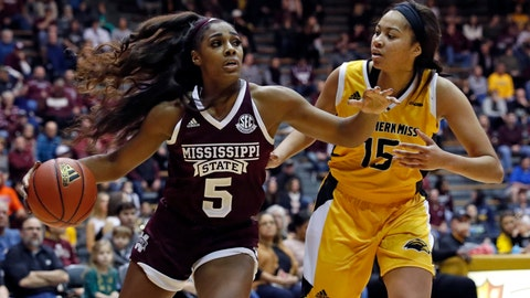 <p>               Mississippi State forward Anriel Howard (5) dribbles up court past Southern Mississippi center Amber Landing (15) during the first half of an NCAA college basketball game in Hattiesburg, Miss., Friday, Dec. 14, 2018. (AP Photo/Rogelio V. Solis)             </p>