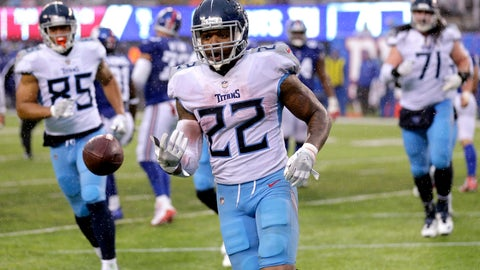 <p>               FILE - In this Sunday, Dec. 16, 2018, file photo, Tennessee Titans running back Derrick Henry (22) tosses the ball to an official after scoring a touchdown run against the New York Giants during the second half of an NFL football game in East Rutherford, N.J.  Unthinkable at the start of December, Henry has piled up a franchise-record 408 yards over his past two games to put the Titans running back 118 yards shy of his first 1,000-yard rushing season. (AP Photo/Seth Wenig, File)             </p>