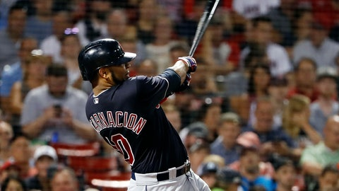 <p>               FILE - In this Aug. 22, 2018, file photo, Cleveland Indians' Edwin Encarnacion follows through on his second two-run home run of the night, during the fifth inning of a baseball game against the Boston Red Sox, in Boston. Edwin Encarnacion has been traded to Seattle and first baseman Carlos Santana has returned to the Indians in a three-team deal that also involved Tampa Bay. The Rays got infielder Yandy Diaz and minor league right-hander Cole Slusser from Cleveland. The Indians also acquired first baseman Jake Bauers. The swap came Thursday, Dec. 13, 2018,  at the close of the winter meetings. (AP Photo/Winslow Townson, File)             </p>