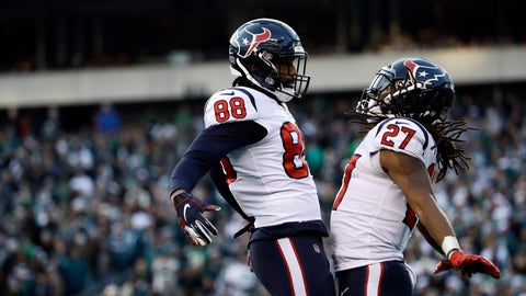 <p>               Houston Texans' D'Onta Foreman, right, and Jordan Akins celebrate after Foreman's touchdown during the second half of an NFL football game against the Philadelphia Eagles, Sunday, Dec. 23, 2018, in Philadelphia. (AP Photo/Matt Rourke)             </p>