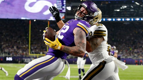 <p>               FILE - In this Oct. 28, 2018, file photo, Minnesota Vikings tight end Kyle Rudolph, left, catches a pass in front of New Orleans Saints linebacker Manti Te'o, right, during the first half of an NFL football game in Minneapolis. Rudolph's contributions to the Vikings have been easy to take for granted, with 61 consecutive games started, but the eighth-year tight end has continually been a big presence on and off the field. (AP Photo/Bruce Kluckhohn, File)             </p>