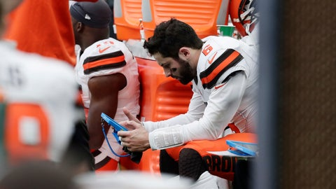 <p>               Cleveland Browns quarterback Baker Mayfield (6) sits on the bench during the first half of an NFL football game against the Houston Texans, Sunday, Dec. 2, 2018, in Houston. (AP Photo/Sam Craft)             </p>
