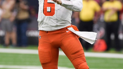 <p>               FILE - In this Dec. 2, 2018, file photo, Cleveland Browns quarterback Baker Mayfield (6) passes during the second half of an NFL football game against the Houston Texans, in Houston. The Carolina Panthers play the Browns in Cleveland on Sunday.(AP Photo/Eric Christian Smith, File)             </p>