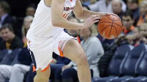 <p>               Virginia guard Ty Jerome (11) drives downcourt during an NCAA college basketball game against Virginia Commonwealth, Sunday, Dec. 9, 2018, in Charlottesville, Va. (AP Photo/Andrew Shurtleff)             </p>
