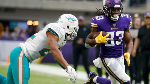 <p>               Minnesota Vikings running back Dalvin Cook, right, runs from Miami Dolphins strong safety T.J. McDonald, left, during the first half of an NFL football game, Sunday, Dec. 16, 2018, in Minneapolis. (AP Photo/Bruce Kluckhohn)             </p>