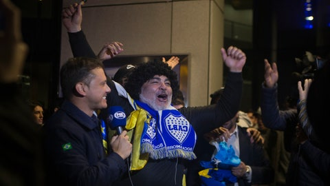 <p>               A Boca Juniors fan dressed as Maradona cheers outside the team's hotel in Madrid, Spain, Wednesday, Dec. 5, 2018. The Copa Libertadores Final will be played on Dec. 9 in Spain at Real Madrid's stadium for security reasons after River Plate fans attacked the Boca Junior team bus heading into the Buenos Aires stadium for the meeting of Argentina's fiercest soccer rivals last Saturday. (AP Photo/Paul White)             </p>