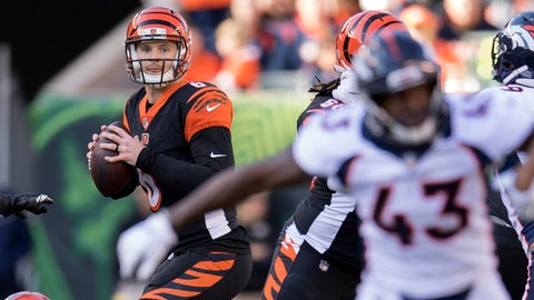<p>               FILE - In this Sunday, Dec. 2, 2018, file photo, Cincinnati Bengals quarterback Jeff Driskel (6) looks to pass during the first half of the NFL football game against the Denver Broncos in Cincinnati. Driskel's NFL starting debut was a disappointment. He had two turnovers as Denver pulled away to a 24-10 win over the Bengals. The backup quarterback gets a second chance this week at the Chargers. (AP Photo/Bryan Woolston, FIle)             </p>