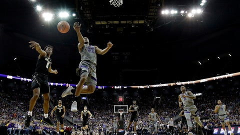 <p>               Vanderbilt's Saben Lee (0) blocks a shot by Kansas State's Xavier Sneed (20) during the first half of an NCAA college basketball game Saturday, Dec. 22, 2018, at the Sprint Center in Kansas City, Mo. (AP Photo/Charlie Riedel)             </p>