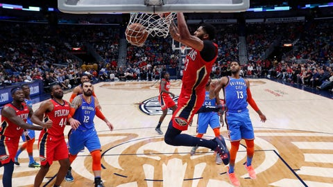 <p>               New Orleans Pelicans forward Anthony Davis dunks in the first half of an NBA basketball game against the Oklahoma City Thunder in New Orleans, Wednesday, Dec. 12, 2018. (AP Photo/Gerald Herbert)             </p>