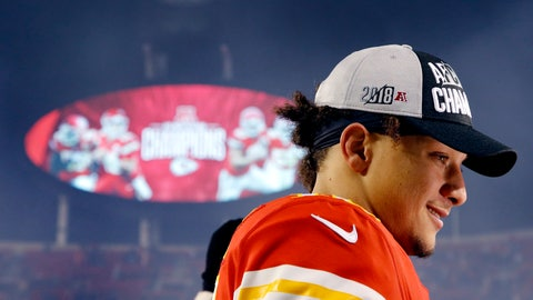 <p>               Kansas City Chiefs quarterback Patrick Mahomes talks to a reporter after an NFL football game against the Oakland Raiders, Sunday, Dec. 30, 2018, in Kansas City, Mo. (AP Photo/Charlie Riedel)             </p>