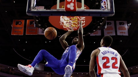 <p>               Philadelphia 76ers' Joel Embiid, left, hangs from the rim after a dunk past Detroit Pistons' Glenn Robinson III (22) during the first half of an NBA basketball game, Monday, Dec. 10, 2018, in Philadelphia. (AP Photo/Matt Slocum)             </p>