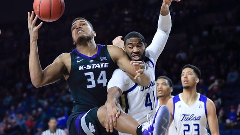<p>               Kansas State's Levi Stockard III battles for a rebound with Tulsa's Jeriah Horne during the first half of an NCAA college basketball game in Tulsa, Okla. on Saturday, Dec. 8, 2018. (AP Photo/Dave Crenshaw)             </p>