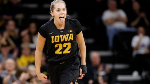 <p>               Iowa guard Kathleen Doyle reacts after making a three-point basket during the first half of an NCAA college basketball game against Iowa State, Wednesday, Dec. 5, 2018, in Iowa City, Iowa. (AP Photo/Charlie Neibergall)             </p>