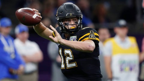 <p>               Appalachian State quarterback Zac Thomas (12) passes in the first half of the New Orleans Bowl NCAA college football game against Middle Tennessee in New Orleans, Saturday, Dec. 15, 2018. (AP Photo/Gerald Herbert)             </p>