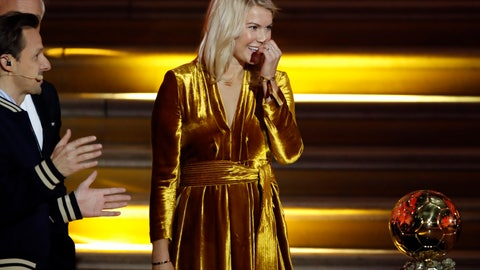 <p>               In this photo taken Monday Dec.3, 2018, French DJ and musician Martin Solveig, left, talks to Olympique Lyonnais' Ada Hegerberg, of Norway, during the Golden Ball (Ballon d'Or) award ceremony at the Grand Palais in Paris. After asking the first woman to win the Ballon d'Or if she twerked, French DJ Martin Solveig then said sorry. (AP Photo/Christophe Ena)             </p>