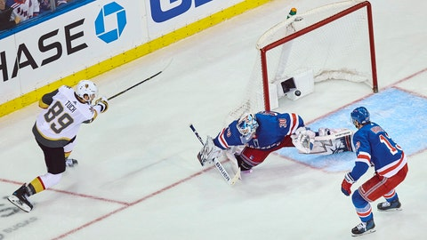 <p>               Vegas Golden Knights' Alex Tuch, (89) scores his goal during overtime of an NHL hockey game against the New York Rangers Sunday, Dec. 16, 2018, in New York. (AP Photo/Andres Kudacki)             </p>