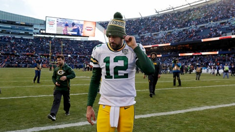<p>               FILE - In this Sunday, Dec. 16, 2018, file photo, Green Bay Packers quarterback Aaron Rodgers walks off the field after a 24-17 loss to the Chicago Bears in an NFL football game in Chicago. Going into this weekend's game against the New York Jets, Rodgers' 61.8 percent completion rate was his lowest since his 60.7 rate in 2015, the year that then-top receiver Jordy Nelson was sidelined with a knee injury.  (AP Photo/Nam Y. Huh, File)             </p>
