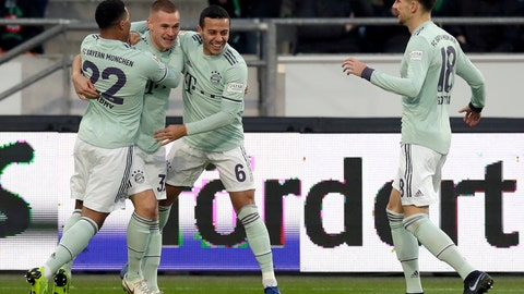 <p>               Bayern's Joshua Kimmich, 2nd left, celebrates after scoring the opening goal during the German Bundesliga soccer match between Hannover 96 and FC Bayern Munich in Hannover, Germany, Saturday, Dec. 15, 2018. (AP Photo/Michael Sohn)             </p>
