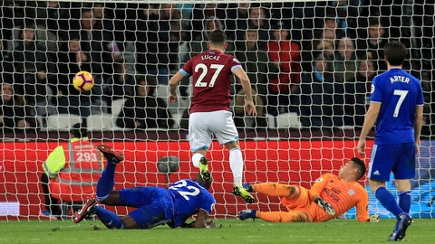 <p>               West Ham United's Lucas Perez, centre, scores his side's first goal of the game against Cardiff City, during their English Premier League soccer match at the London Stadium, in London Tuesday Dec. 4, 2018. (Mike Egerton/PA via AP)             </p>