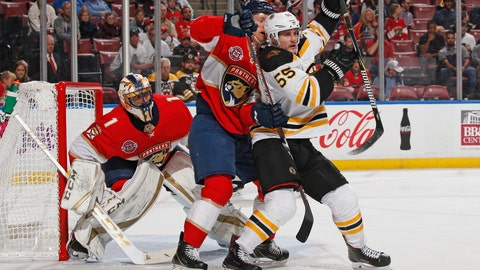 <p>               Florida Panthers goaltender Roberto Luongo (1) fends the net as Florida Panthers defenseman Michael Matheson (19) battles for position with Boston Bruins center Noel Acciari (55) during the second period of an NHL hockey game, Tuesday, Dec. 4, 2018, in Sunrise, Fla. (AP Photo/Joel Auerbach)             </p>