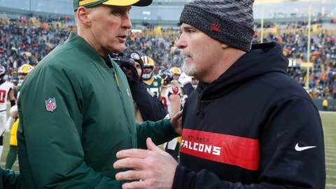 <p>               Green Bay Packers head coach Joe Philbin talks to Atlanta Falcons head coach Dan Quinn after an NFL football game Sunday, Dec. 9, 2018, in Green Bay, Wis. The Packers won 34-20. (AP Photo/Jeffrey Phelps)             </p>