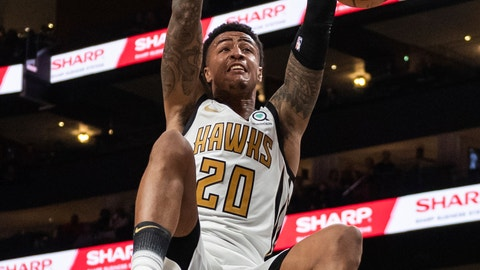 <p>               Atlanta Hawks forward John Collins (20) dunks against the Denver Nuggets during the first half of an NBA basketball game Saturday, Dec. 8, 2018, in Atlanta. (AP Photo/Danny Karnik)             </p>