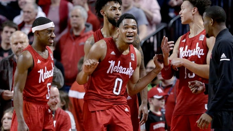 <p>               Nebraska starters Glynn Watson Jr. (5), James Palmer Jr. (0), Isaiah Roby (15) and Isaac Copeland Jr., rear, celebrate in the closing seconds of the team's NCAA college basketball game against Creighton in Lincoln, Neb., Saturday, Dec. 8, 2018. Nebraska won 94-75. (AP Photo/Nati Harnik)             </p>