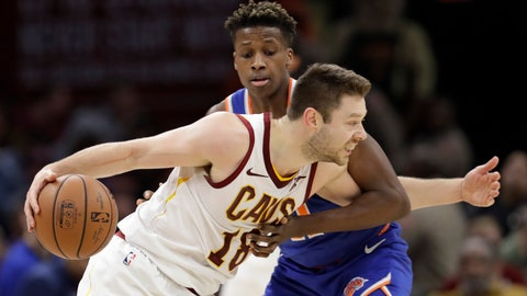 <p>               Cleveland Cavaliers' Matthew Dellavedova, right, drives past New York Knicks' Frank Ntilikina, from Belgium, in the second half of an NBA basketball game, Wednesday, Dec. 12, 2018, in Cleveland. The Cavaliers won 113-106. (AP Photo/Tony Dejak)             </p>