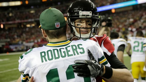 <p>               FILE - In this Jan. 22, 2017, file photo, Green Bay Packers' Aaron Rodgers hugs Atlanta Falcons' Matt Ryan before the NFL football NFC championship game, in Atlanta. The fortunes of the Atlanta Falcons and Green Bay Packers have changed less than two years after they met in the NFC title game. They're each trying to avoid losing records when the teams meet on Sunday at Lambeau Field. (AP Photo/David Goldman, File)             </p>