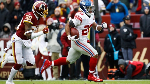 <p>               New York Giants running back Saquon Barkley (26) runs away from Washington Redskins strong safety Ha Ha Clinton-Dix (20) for a 78-yard touchdown during the first half of an NFL football game Sunday, Dec. 9, 2018, in Landover, Md. (AP Photo/Patrick Semansky)             </p>