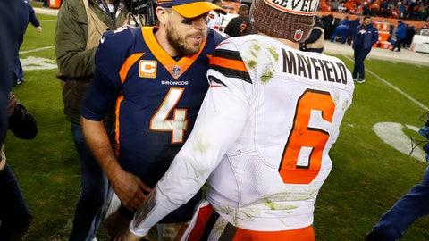 <p>               Cleveland Browns quarterback Baker Mayfield (6) greets Denver Broncos quarterback Case Keenum (4) after an NFL football game, Saturday, Dec. 15, 2018, in Denver. The Browns won 17-16. (AP Photo/Jack Dempsey)             </p>