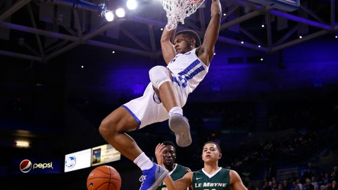 <p>               Buffalo guard Jayvon Graves (3) dunks the ball during the first half of an NCAA college basketball game against Le Moyne, Wednesday, Dec. 5, 2018, in Buffalo N.Y. (AP Photo/Jeffrey T. Barnes)             </p>