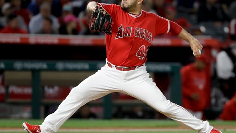 <p>               FILE - In this April 18, 2018, file photo, Los Angeles Angels relief pitcher Jose Alvarez throws to a Boston Red Sox batter during the fifth inning of a baseball game in Anaheim, Calif. The Philadelphia Phillies have acquired Alvarez from the Angels for right-hander Luis Garcia. (AP Photo/Chris Carlson, File)             </p>