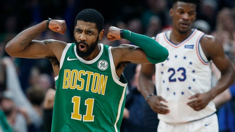 <p>               Boston Celtics' Kyrie Irving (11) reacts in front of Philadelphia 76ers' Jimmy Butler after making a 3-pointer in overtime during an NBA basketball game in Boston, Tuesday, Dec. 25, 2018. Boston won 121-114. (AP Photo/Michael Dwyer)             </p>