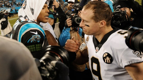 <p>               Carolina Panthers' Cam Newton (1) greets New Orleans Saints' Drew Brees (9) after an NFL football game in Charlotte, N.C., Monday, Dec. 17, 2018. (AP Photo/Mike McCarn)             </p>