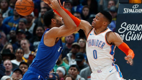 <p>               Oklahoma City Thunder guard Russell Westbrook, right, blocks a shot by Denver Nuggets forward Trey Lyles in the first half of an NBA basketball game Friday, Dec. 14, 2018, in Denver. (AP Photo/David Zalubowski)             </p>