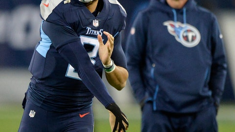 <p>               Tennessee Titans quarterback Marcus Mariota (8) warms up with tape on his throwing hand before the first half of an NFL football game against the Jacksonville Jaguars, Thursday, Dec. 6, 2018, in Nashville, Tenn. (AP Photo/Mark Zaleski)             </p>