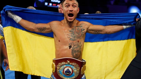 <p>               FILE - In this Dec. 9, 2017, file photo, Vasiliy Lomachenko, of Ukraine, celebrates after defeating Guillermo Rigondeaux in a WBO junior lightweight title boxing match in New York. Lomachenko is back and ready to show what he can do with two healthy shoulders. Injured while winning one lightweight belt, Lomachenko while try to add a second in his return from surgery when he faces Jose Pedraza on Saturday night in the Theater at Madison Square Garden. (AP Photo/Adam Hunger, File)             </p>