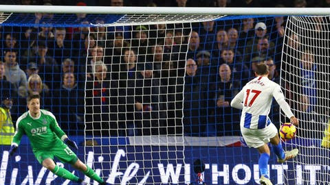 <p>               Brighton & Hove Albion's Glenn Murray scores his side's first goal of the game from the penalty spot against Crystal Palace during their English Premier League soccer match at the AMEX Stadium in Brighton, Tuesday Dec. 4, 2018. (Gareth Fuller/PA via AP)             </p>
